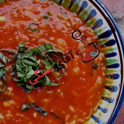 مراحل پخت خورش گوجه در دیگ سنگی